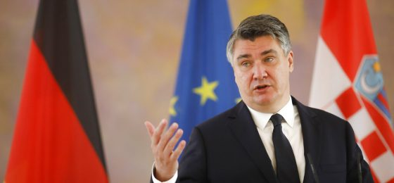 Croatia's President Zoran Milanovic attends a news conference with German President Frank-Walter Steinmeier during a meeting at the Bellevue Palace in Berlin, Germany, Friday, Sept. 11, 2020. (AP Photo/Markus Schreiber)