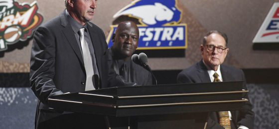 Inductee Toni Kukoc, left, speaks as teammate Michael Jordan and Jerry Reinsdorf, listen during the 2021 Basketball Hall of Fame Enshrinement ceremony, Saturday, Sept. 11, 2021, in Springfield, Mass. (AP Photo/Jessica Hill)