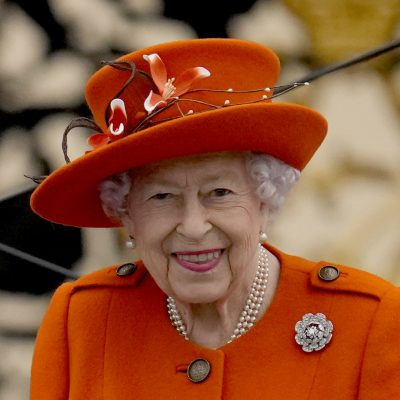 Britain's Queen Elizabeth II attends the Birmingham 2022 Commonwealth Games Queen's Baton Relay event outside Buckingham Palace in London, Thursday, Oct. 7, 2021. The city of Birmingham in England will host the 2022 Commonwealth Games. (AP Photo/Matt Dunham)