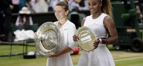 Winner Simona Halep, of Romania, left, and second placed Serena Williams pose with their trophies after the women's singles final match on day twelve of the Wimbledon Tennis Championships in London, in this Saturday, July 13, 2019, file photo. There are plenty of intriguing story lines to follow on the grass courts. That includes Novak Djokovic's bid to equal Roger Federer and Rafael Nadal at 20 major titles and Serena Williams seeking her 24th. (AP Photo/Tim Ireland, File)