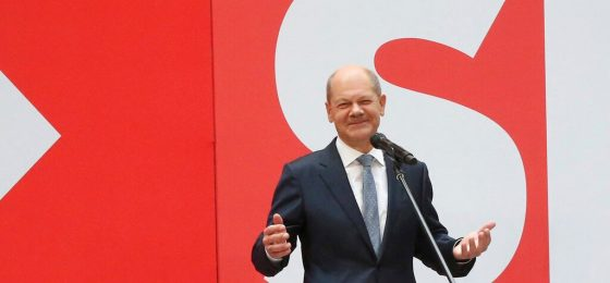 Social Democratic candidate for chancellor Olaf Scholz speaks at the party's headquarters in Berlin, Monday, Sept. 27, 2021. Following Sunday's election leaders of the German parties were meeting Monday to digest a result that saw Merkel's Union bloc slump to its worst-ever result in a national election and appeared to put the keys to power in the hands of two opposition parties. Both Social Democrat Olaf Scholz and Armin Laschet, the candidate of Merkel's party, laid a claim to leading the next government. (Wolfgang Kumm/dpa via AP)